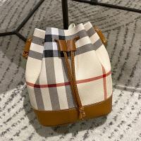 撞色水桶包2020韩版新款简约女包单肩斜挎包格子包休闲小包包
