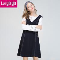 【满200减100】Lagogo/拉谷谷2017年秋新款时尚V领金属钮扣装饰连衣裙GCLL238M12