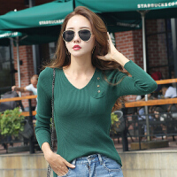毛衣女韩版秋季新款绿色V领修身针织长袖女士打底套头毛线衣