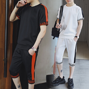 夏季男士短袖T恤韩版休闲运动套装2018新款半袖一套圆领DS81