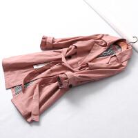 778 春季新款插肩长袖腰带修身双排扣百搭外套女风衣