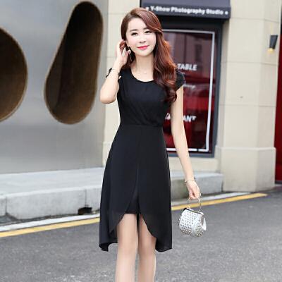 前短后长连衣裙女夏2018新款韩版修身显瘦中长款不规则雪纺燕尾裙