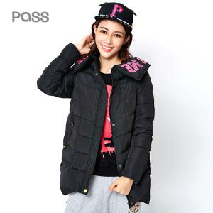 PASS冬季新款连帽羽绒棉服女短款外套潮修身显瘦学生棉袄上衣