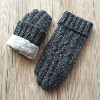 瑞迪卡欧秋冬新品男士羊毛毛线针织拧花双层加厚加绒触屏保暖手套 花 均码