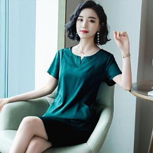 风轩衣度 2018夏季新款真丝衬衫桑蚕丝韩版修身气质优雅款 2391-5815