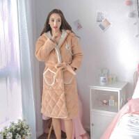 睡袍女冬可爱三层加厚加长款珊瑚绒夹棉睡袍卡通连帽甜美浴袍睡衣 图片色