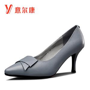 【通勤真皮女单鞋】意尔康女鞋2018秋季新款中高跟细跟女士单鞋