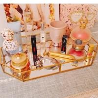 欧美简约现代化妆品收纳盒金属玻璃镜面托盘金色收纳梳妆台面膜架 透明 金色永托盘