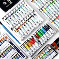 24色36色小学生画画涂鸦可水洗绘画手绘彩绘 儿童水粉颜料套装初学者铝管水彩颜料工具箱