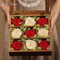 情人节永生花玫瑰花礼盒 保鲜花干花情人节生日礼物送爱人