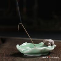 龙泉青瓷香道用品线香座香托 陶瓷熏香炉插香器荷塘月色线香插