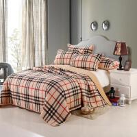 春秋款天鹅绒床盖三件套夹棉加厚保暖毛毯单件绗缝盖被四季棉加绒床单