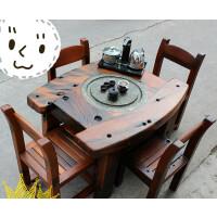 茶桌椅组合户外阳台小型功夫茶几实木家具中式茶台整装 90桌+4 整装