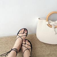 春夏新款韩国温柔绑带鞋系带鞋子凉鞋平底鞋女鞋