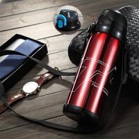 不锈钢真空保温壶户外大容量保温杯男女便携水杯运动旅行壶800ml 红色 送备盖 杯刷 背带