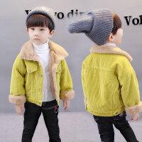男童秋冬新款儿童韩版加绒外套中小童3-5岁男孩短款加厚外套上衣