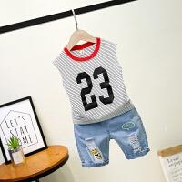 男童夏装新款套装短袖牛仔裤韩版夏季童装儿童运动两件套潮6