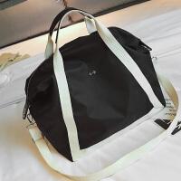 韩版大容量旅行包男健身包女运动包斜跨包手提包防水行李包出差包 黑色 关注店铺送洗漱包 中