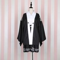 日系宽袖印花仙鹤外套+黑白撞色连衣裙两件套装cosplay女装古装 外套+连衣裙两件套(送腰封))