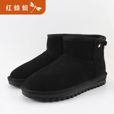 红蜻蜓冬季加绒加厚雪地靴女新款短筒韩版靴棉鞋防滑短靴