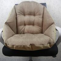 藤椅坐垫靠垫一体护腰亚麻毛绒软垫子办公室坐椅子垫子带绑带