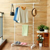【满减】ORZ 时尚可伸缩晾衣架 三层升降晾晒架衣架鞋架一体化衣物收纳架