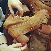 欧洲站新款粗跟短靴女鞋秋季系带英伦风机车马丁靴复古真皮女靴子