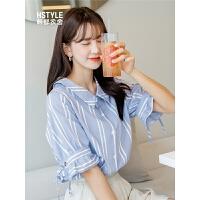韩都衣舍2019夏装新款韩版女装宽松显瘦少女条纹衬衫YK9827�S