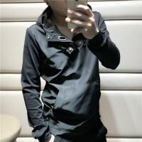 春秋新款薄款卫衣韩版休闲套头夹克男士连帽外套青少年修身上衣潮 黑色