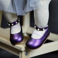 拥抱熊春秋宝宝鞋子公主皮鞋柔软底女童学步鞋防掉婴儿鞋1-2-3岁