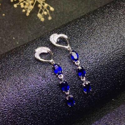 超级美丽的天然斯里兰卡蓝宝石耳坠,火彩爆闪