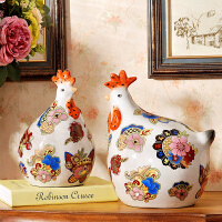 家居装饰摆件鸡年吉祥物家装电视柜新家客厅摆设饰品陶瓷工艺品