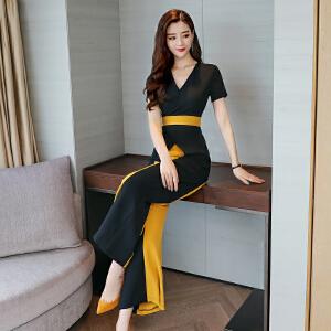 时尚裙子2018夏季新款V领修身显瘦包臀开叉中长款撞色拼接连衣裙