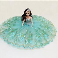 可爱 芭比公主十二关节能动的婚纱汽车芭比洋娃娃 摆件儿童礼物婚庆摆件 30厘米