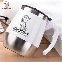 史努比家用不锈钢喝水杯 办公室茶杯带盖勺手柄咖啡杯保温马克杯子