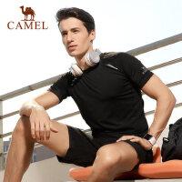 【领券下单立减111元】骆驼运动服套装男短袖透气吸汗跑步瑜伽健身两件套