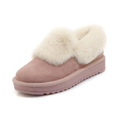 WARORWAR新品YG29-X28冬季欧美磨砂反绒牛皮真皮皮毛一体低底舒适女鞋潮流时尚潮鞋百搭潮牌雪地靴