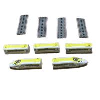 合金地铁高铁和谐号动车模型磁性回力小火车头带轨道男孩儿童玩具 120列车 黄 (带轨道)