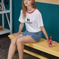 【1件3折到手价:39】美特斯邦威短袖T恤女夏季新款时尚设计休闲舒适潮流女短袖T恤603974