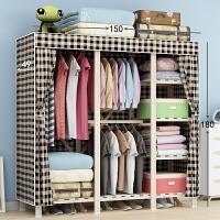 布衣柜实木加厚布艺简易衣柜大号组装衣服收纳柜木质布衣橱挂衣架