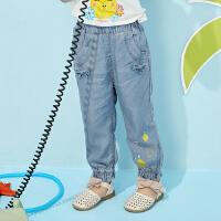 【满1000减750】moomoo童装儿童秋装新款莱赛尔女幼童时尚牛仔哈伦宝宝长裤子