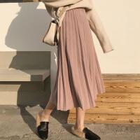 冬装女装学生裙子新款纯色松紧腰A字裙毛呢中长款高腰显瘦百褶裙