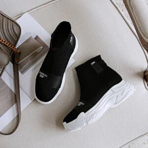 ZHR2018春秋新款弹力袜靴韩版短靴运动女靴子学生单靴百搭瘦瘦靴