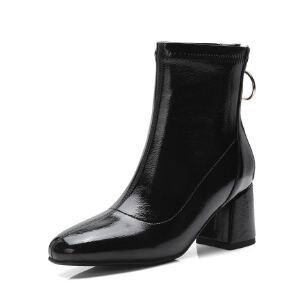 WARORWAR法国新品YG05-20703-8冬季欧美漆皮粗跟高跟女士靴子切尔西靴短靴