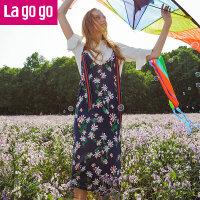 【6.29日限时秒杀价139】Lagogo/拉谷谷2018夏季新款撞色条纹开衩连衣裙两件套HALL803Y23