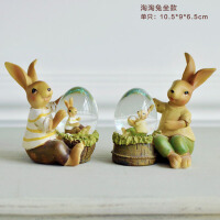 创意兔子摆件可爱对兔树脂工艺品家居装饰品摆设结婚生日礼物