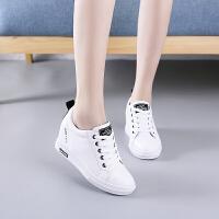 秋季内增高小白鞋女2018新款百搭韩版时尚坡跟女士平底休闲鞋