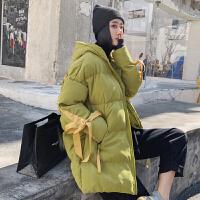 棉衣女中长款冬季新款韩版连帽宽松羽绒棉袄加厚学生面包服潮 绿色