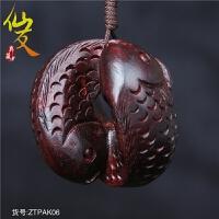 精雕鲤鱼手把件年年有小叶紫檀木雕刻挂件红木工艺品摆件