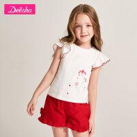 【3折价:45】笛莎童装女童短袖T恤夏季新款中大童儿童时尚印花拼接袖上衣